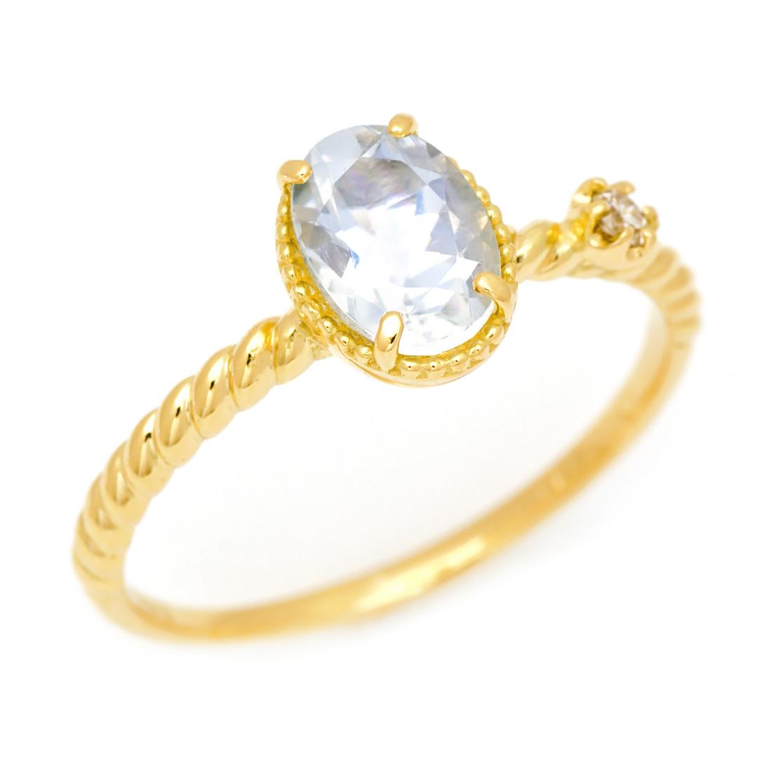 K18 ブルームーンストーン ダイヤモンド リング 「spaiato」送料無料 指輪 18K 18金 ゴールド カジュアル カラーストーン 6月誕生石 誕生日 文字入れ 刻印 ピンキーリング対応可能 メッセージ ギフト 贈り物