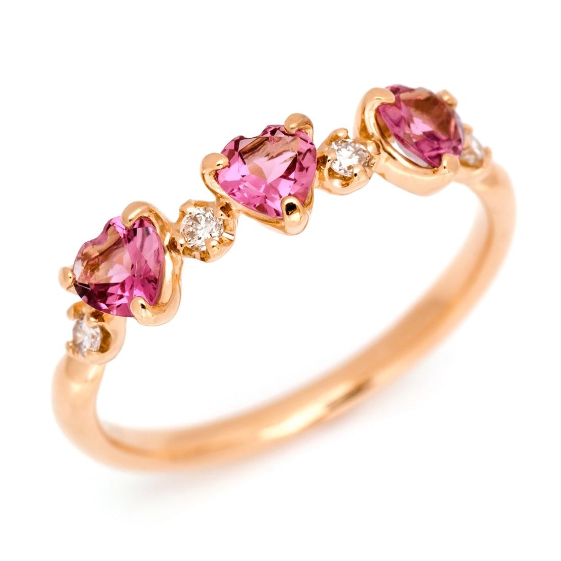 【GWクーポン配布中】K18 ピンクトルマリン ダイヤモンド ハート リング 「carino」送料無料 指輪 18K 18金 ゴールド ダイアモンド 10月誕生石 誕生日 文字入れ 刻印 ピンキーリング対応可能 メッセージ ギフト 贈り物