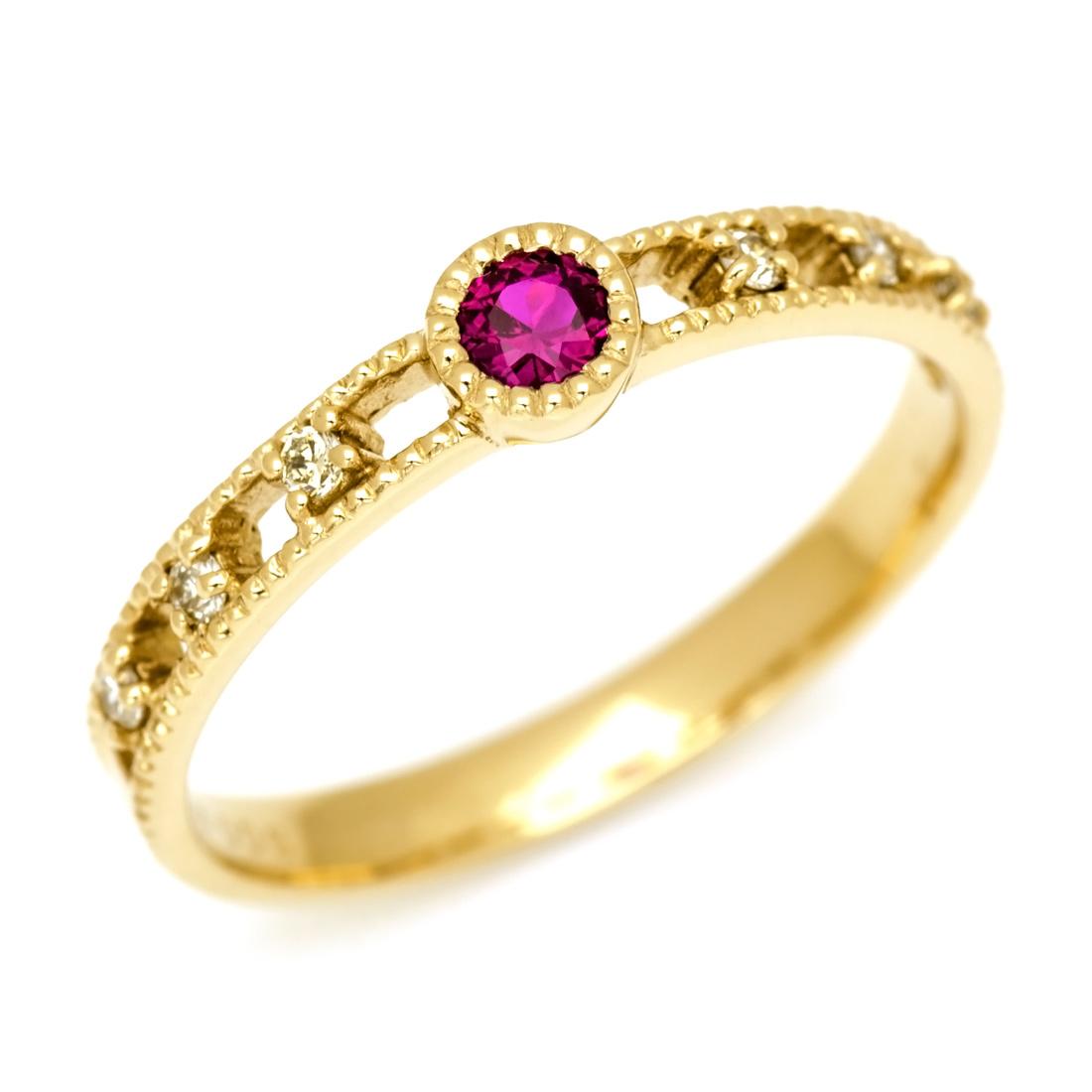 【GWクーポン配布中】K18 ルビー ダイヤモンド リング 「delicatura」送料無料 指輪 18K 18金 ゴールド ダイアモンド ミル打ち 7月誕生石 誕生日 文字入れ 刻印 ピンキーリング対応可能 メッセージ ギフト 贈り物