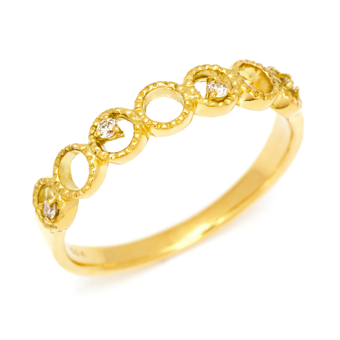 【GWクーポン配布中】K18 ダイヤモンド リング 「diafano」送料無料 指輪 18K 18金 ゴールド ダイアモンド ミル打ち 4月誕生石 誕生日 文字入れ 刻印 ピンキーリング対応可能 メッセージ ギフト 贈り物