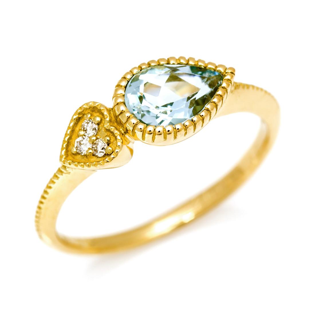 【GWクーポン配布中】K18 アクアマリン ダイヤモンド リング 「pianto」送料無料 指輪 18K 18金 ゴールド アクワマリン ダイアモンド ハート ミル打ち 誕生日 3月誕生石 文字入れ 刻印 ピンキーリング対応可能 メッセージ ギフト 贈り物