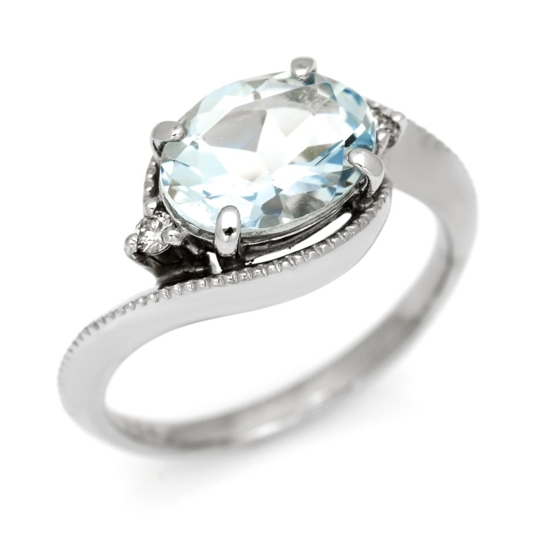 【GWクーポン配布中】K18 アクアマリン 1.5ct ダイヤモンド リング 「pristino」送料無料 指輪 18K 18金 ゴールド アクワマリン ダイアモンド ミル打ち 誕生日 3月誕生石 文字入れ 刻印 ピンキーリング対応可能 メッセージ ギフト 贈り物