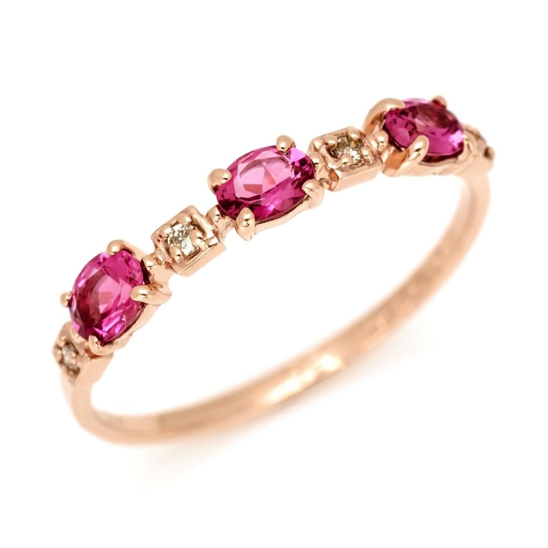 【GWクーポン配布中】K10 ピンクトルマリン ダイヤモンド リング 「purezza」送料無料 指輪 10K 10金 ゴールド ダイアモンド 10月誕生石 誕生日 文字入れ 刻印 ピンキーリング対応可能 メッセージ ギフト 贈り物