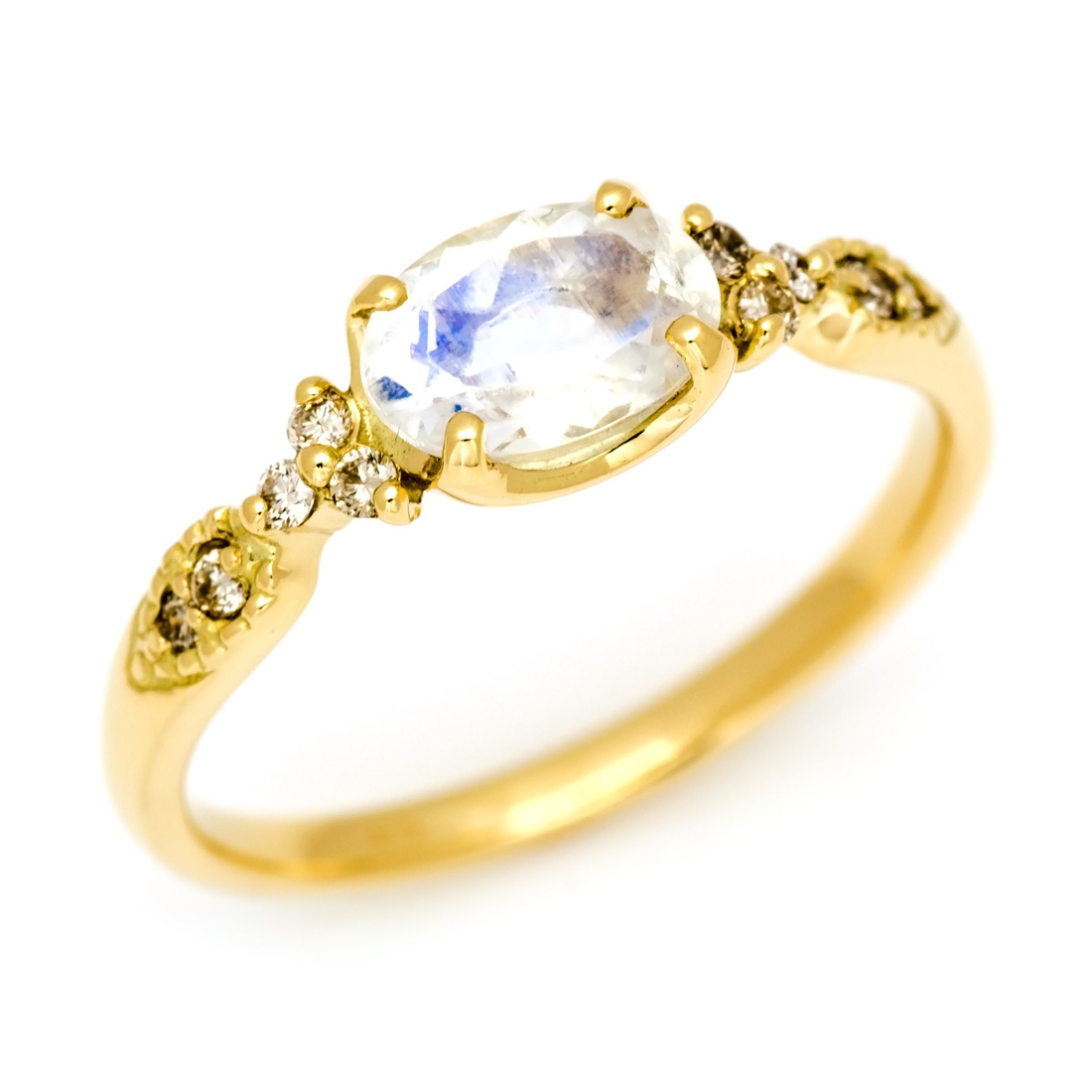 【GWクーポン配布中】リング ブルームーンストーン ダイヤモンド ゴールド K18 「amanza」 送料無料