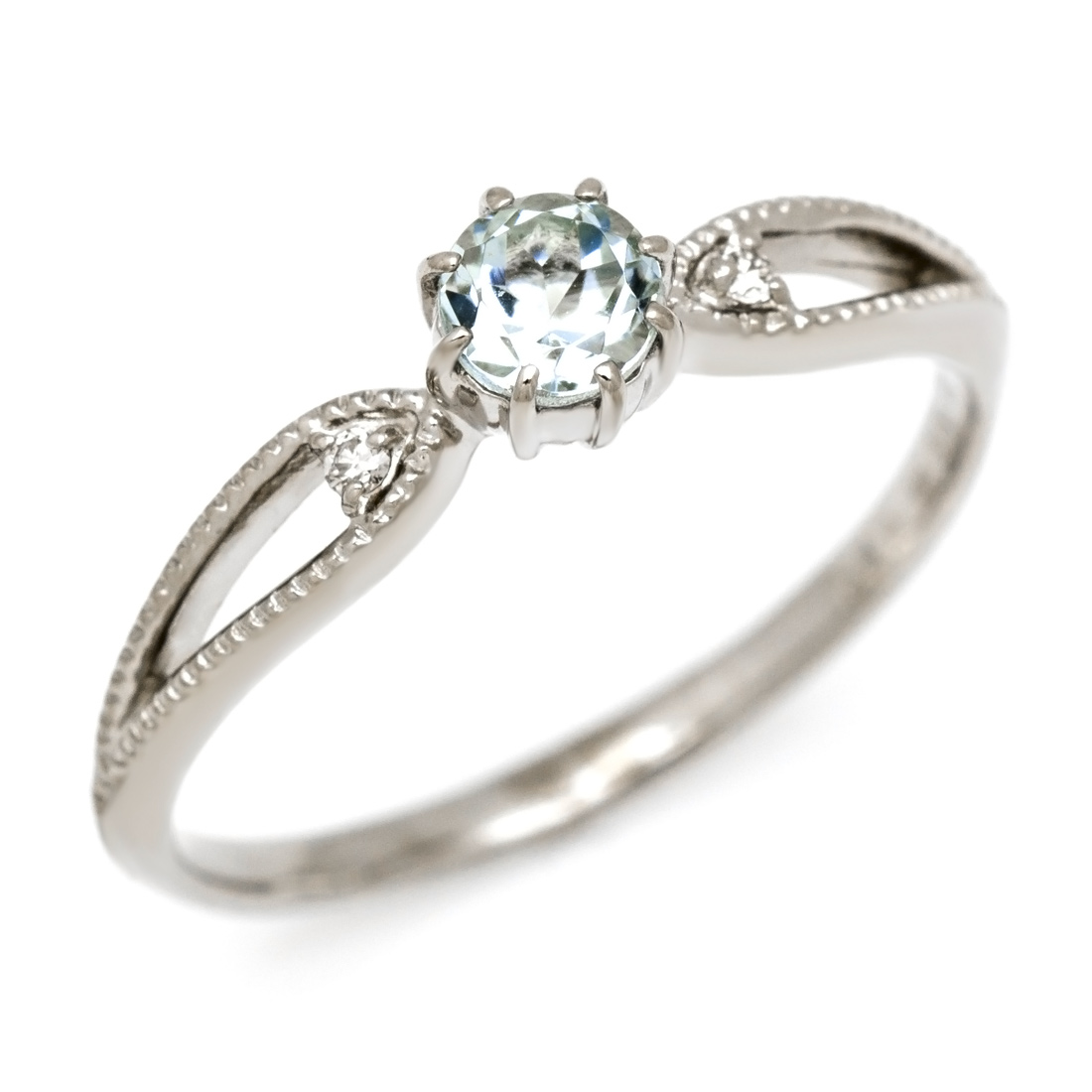 K10 アクアマリン ダイヤモンド リング 「rubacuori」 指輪 10K 10金 ゴールド アクワマリン ダイアモンド 3月誕生石 誕生日 文字入れ 刻印 ピンキーリング対応可能 メッセージ ギフト 贈り物
