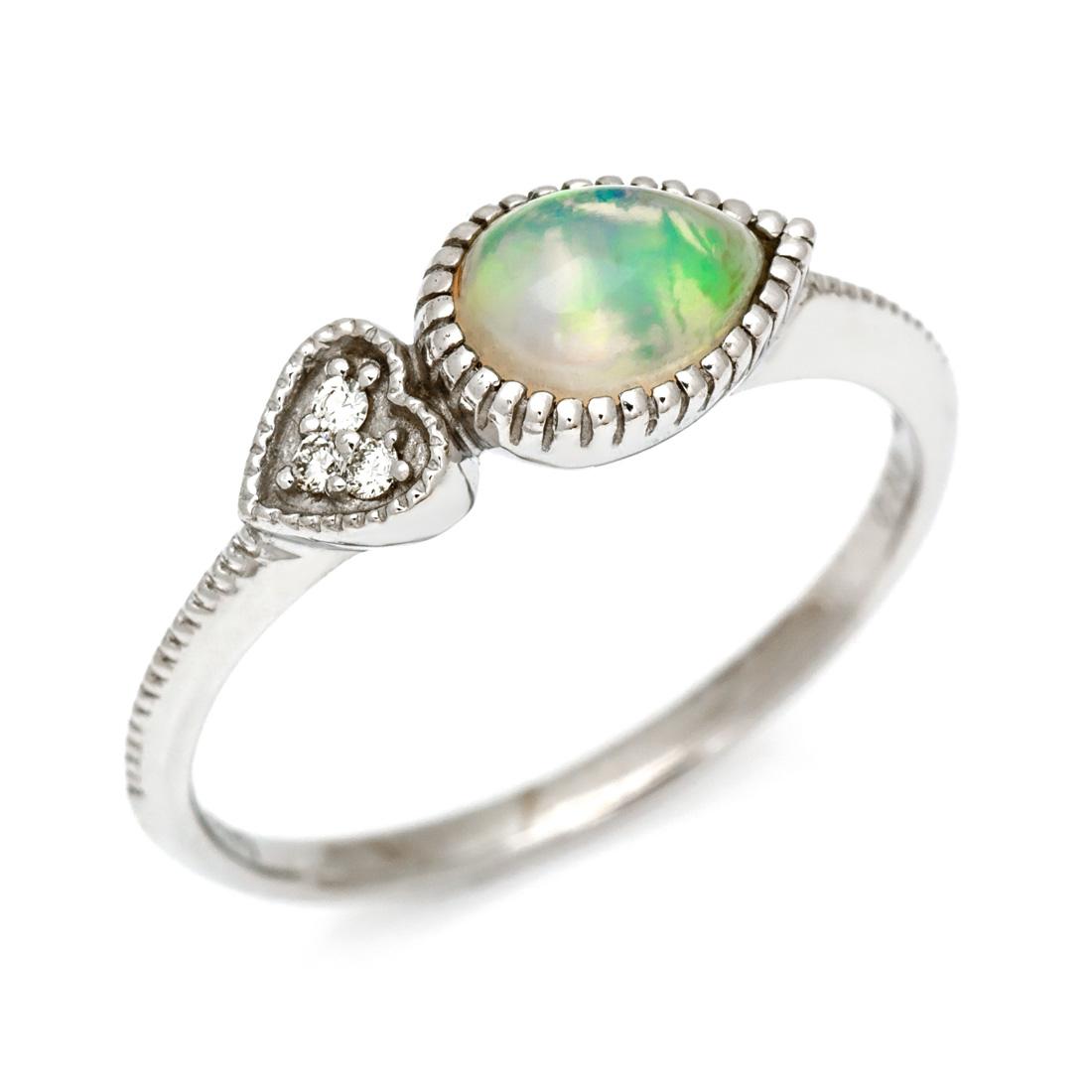 K18 オパール ダイヤモンド リング 「pianto」送料無料 指輪 18K 18金 ゴールド ホワイトオパール ライトオパール ダイアモンド 誕生日 10月誕生石 文字入れ 刻印 ピンキーリング対応可能 メッセージ ギフト 贈り物
