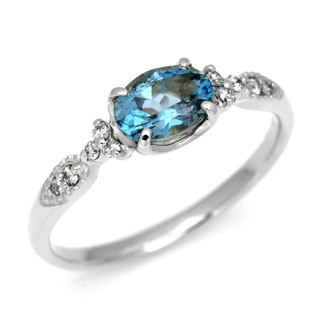 【GWクーポン配布中】K18 サンタマリアアクアマリン ダイヤモンド リング 「amanza」送料無料 指輪 18K 18金 アクワマリン ダイアモンド 誕生日 3月誕生石 文字入れ 刻印 ピンキーリング対応可能 メッセージ ギフト 贈り物