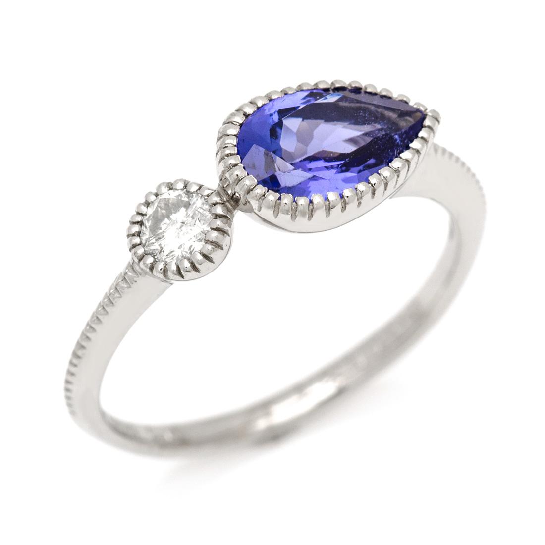 K18 タンザナイト ダイヤモンド リング 「pianto」送料無料 指輪 ゴールド 18K 18金 ブルーゾイサイト ダイアモンド 誕生日 12月誕生石 刻印 文字入れ メッセージ ギフト 贈り物 ピンキーリング対応可能