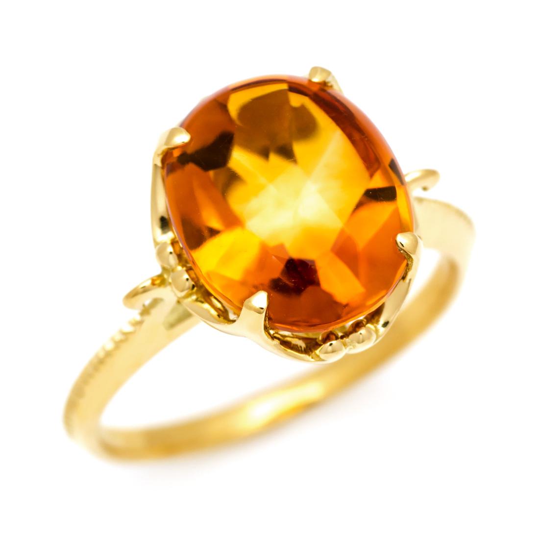 リング シトリン 「caramella」 ゴールド K18