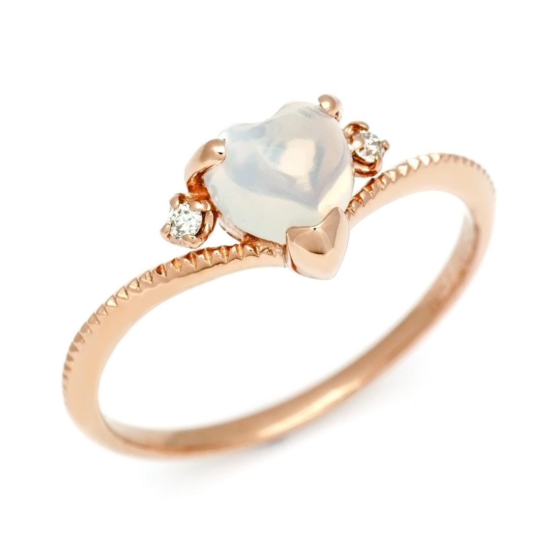K18 ブルームーンストーン ダイヤモンド ハートリング 「ragazza」 指輪 ゴールド 18K 18金 ダイアモンド 誕生日 6月誕生石 刻印 文字入れ メッセージ ギフト 贈り物 ピンキーリング対応可能