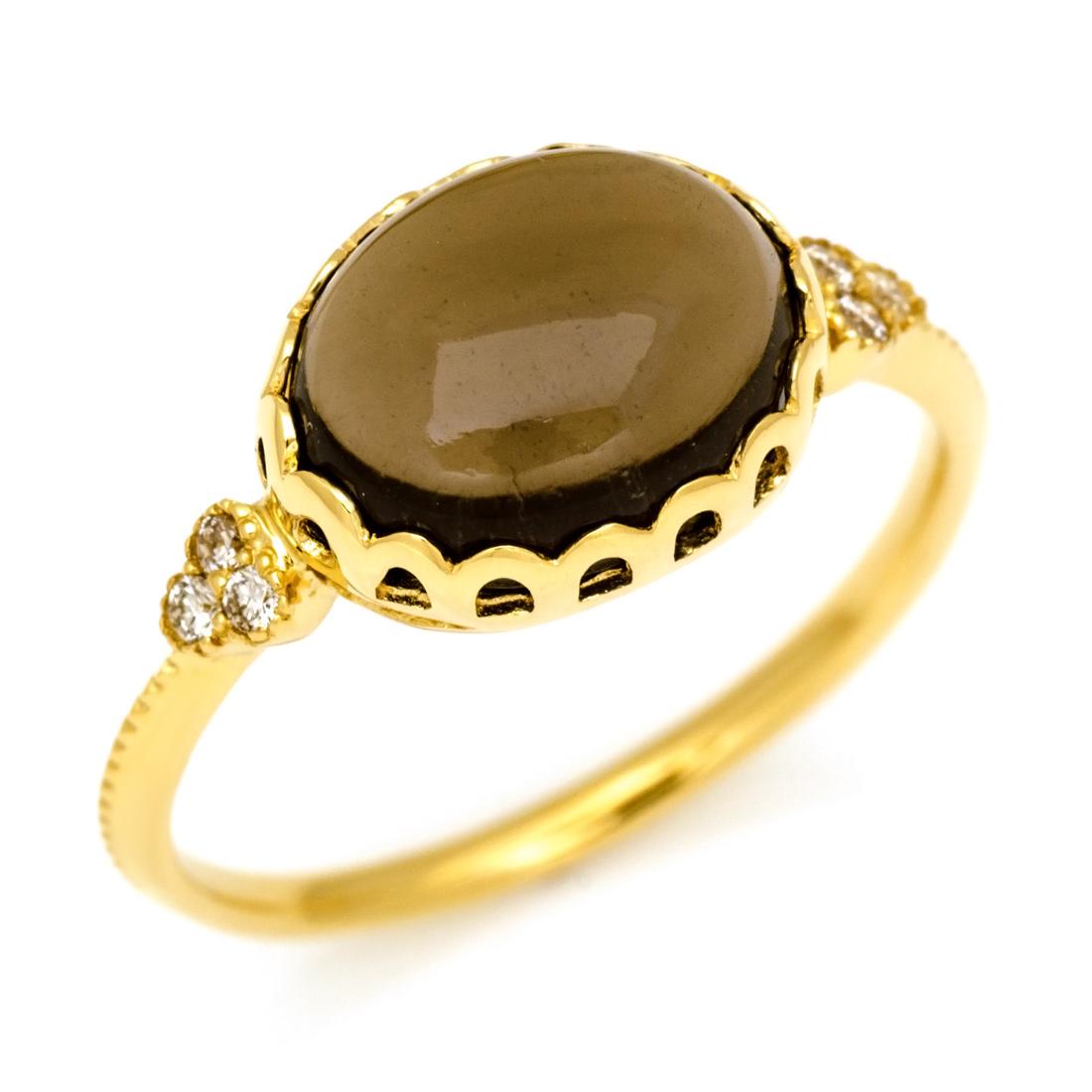 【GWクーポン配布中】K18 スモーキークォーツ ダイヤモンド リング送料無料 指輪 ダイアモンド 18K 18金 ゴールド 誕生日 記念日 刻印 文字入れ メッセージ ギフト 贈り物