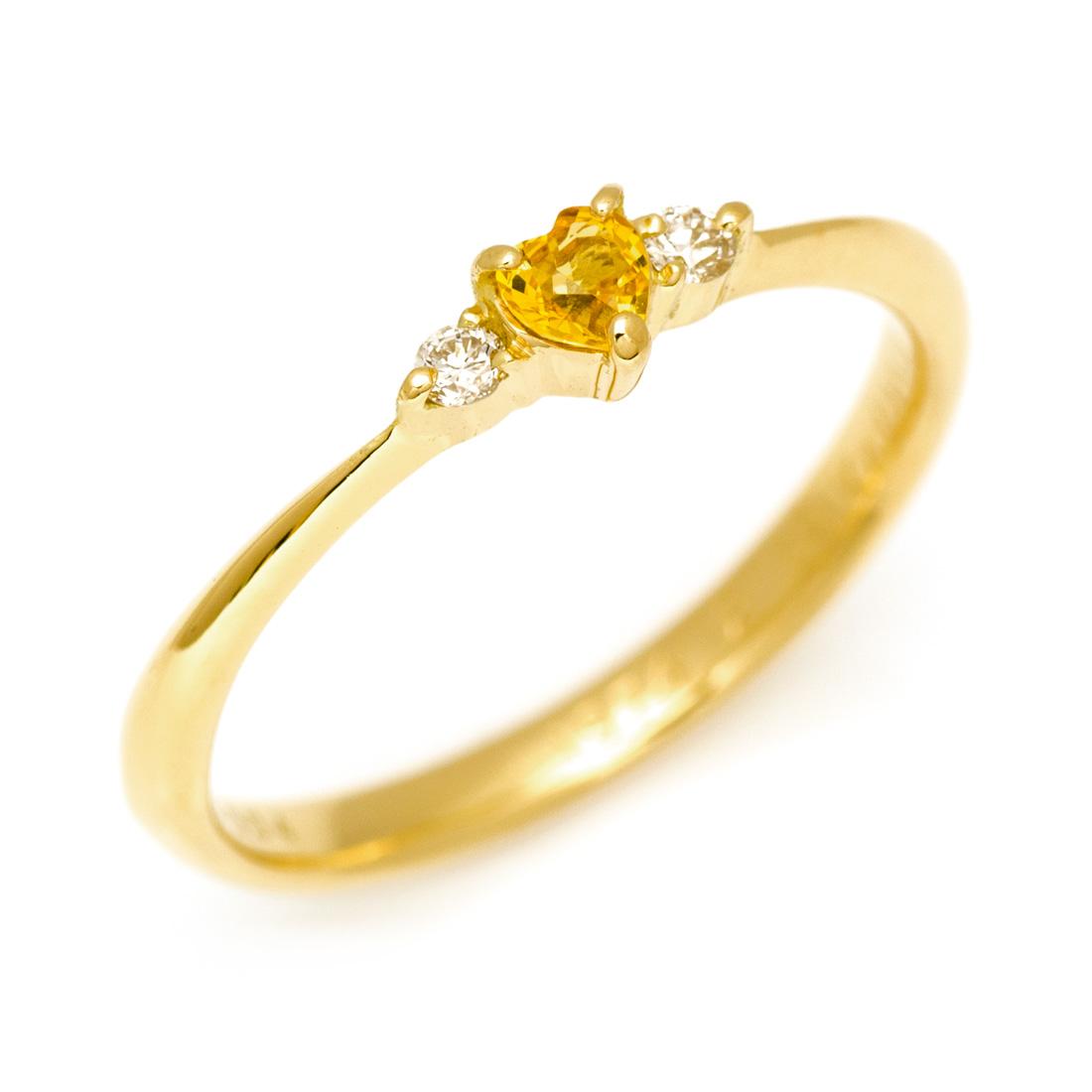 【GWクーポン配布中】K18 カラーサファイア ダイヤモンド ハート リング 「finezza」送料無料 指輪 ゴールド 18K 18金 サファイヤ ダイアモンド 誕生日 9月誕生石 刻印 文字入れ メッセージ ギフト 贈り物 ピンキーリング対応可能