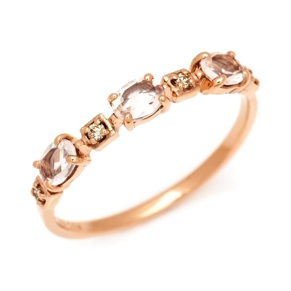 【GWクーポン配布中】K10 ローズクォーツ ダイヤモンド リング 「purezza」送料無料 指輪 ゴールド 18K 18金 ダイアモンド 刻印 文字入れ メッセージ ギフト 贈り物 ピンキーリング対応可能