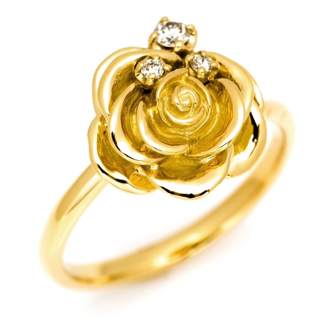 K18 バースストーン ローズ リング 「la vie en rose」 指輪 ゴールド 18K 18金 バラ 薔薇 フラワー 花 誕生石 バースストーン 刻印 文字入れ メッセージ ギフト 贈り物 ピンキーリング対応可能