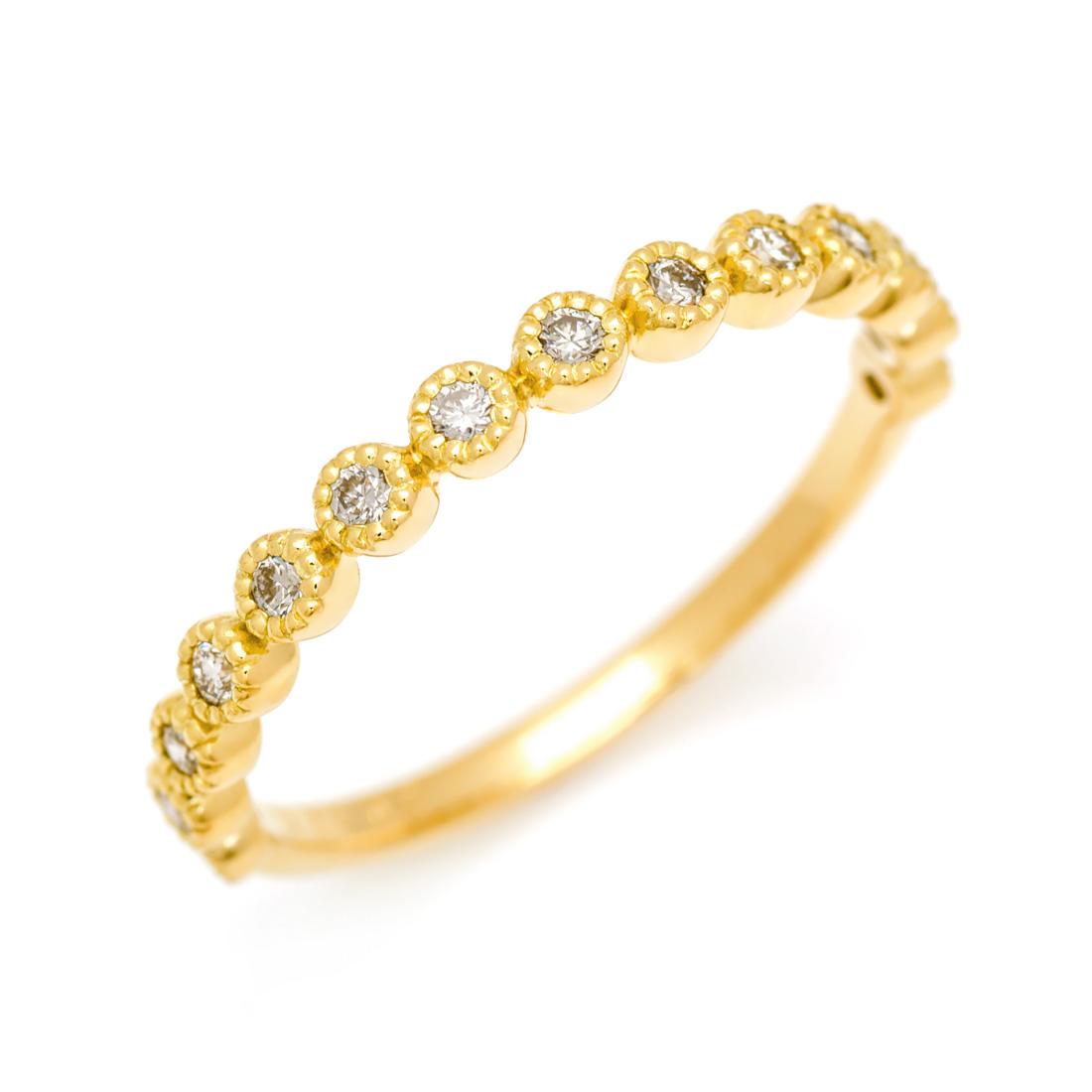 【GWクーポン配布中】K18 ダイヤモンド 0.2ct エタニティ リング送料無料 指輪 ゴールド 18K 18金 ダイアモンド エタニティーリング ミル打ち 誕生日 4月誕生石 刻印 文字入れ メッセージ ギフト 贈り物 ピンキーリング対応可能