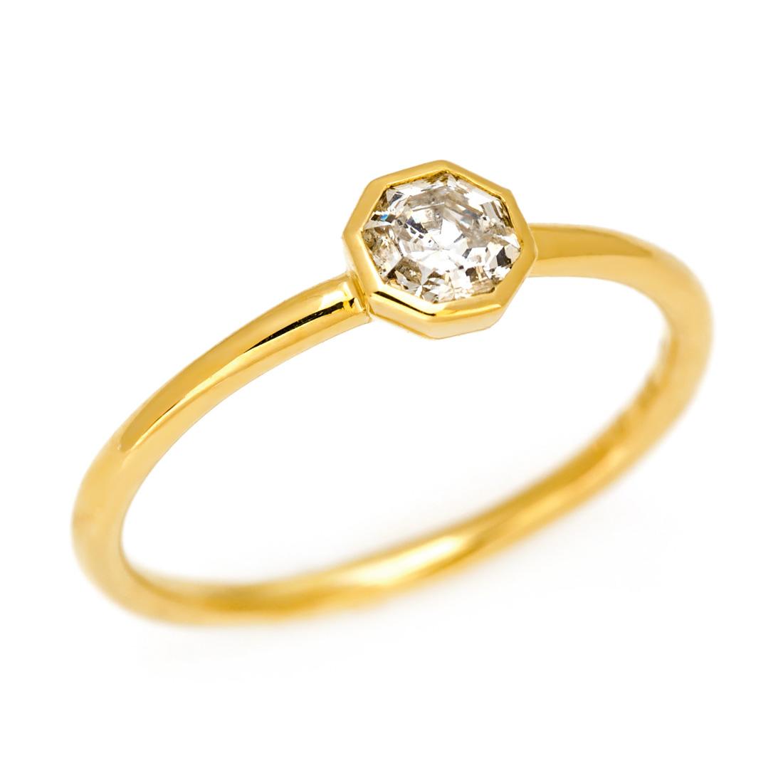 K18 0.3ct オクタゴン ダイヤモンド リング 指輪 ゴールド 18K 18金 ダイアモンド 誕生日 4月誕生石 刻印 文字入れ メッセージ ギフト 贈り物 ピンキーリング対応可能