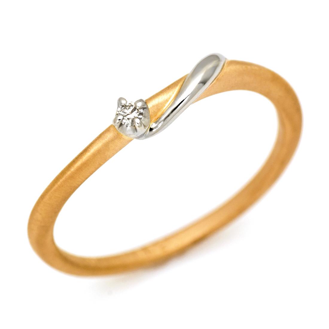 K18/PT900 ダイヤモンド リング 「mebae」GINGER掲載 ピンキーリング 指輪 ダイアモンド ファランジ 18K 18金 ゴールド 4月誕生石 誕生日 記念日 新生活 刻印 文字入れ