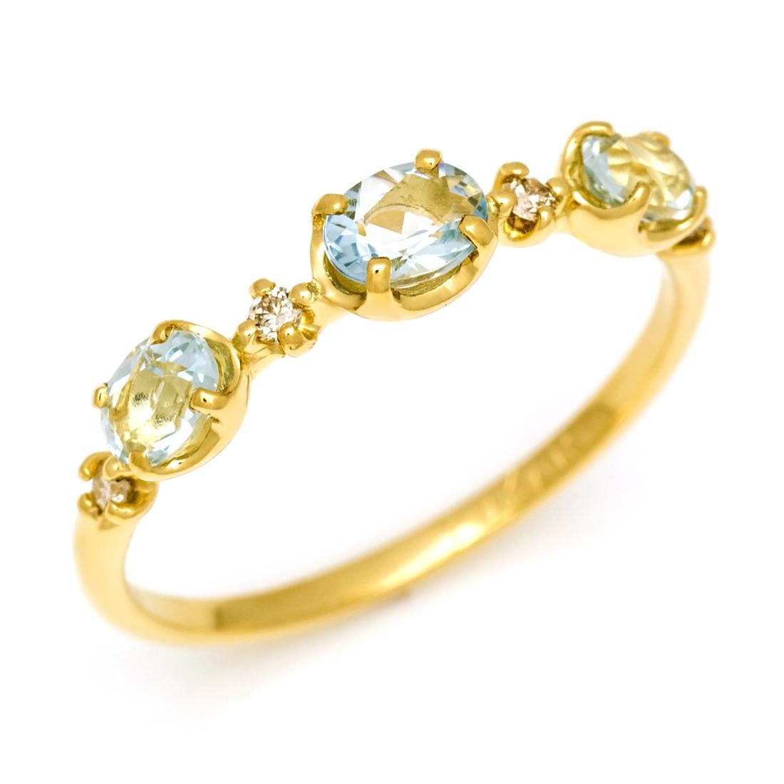 【GWクーポン配布中】K18 アクアマリン リング送料無料 指輪 ゴールド 18K 18金 アクワマリン ダイアモンド 誕生日 3月誕生石 刻印 文字入れ メッセージ ギフト 贈り物 ピンキーリング対応可能