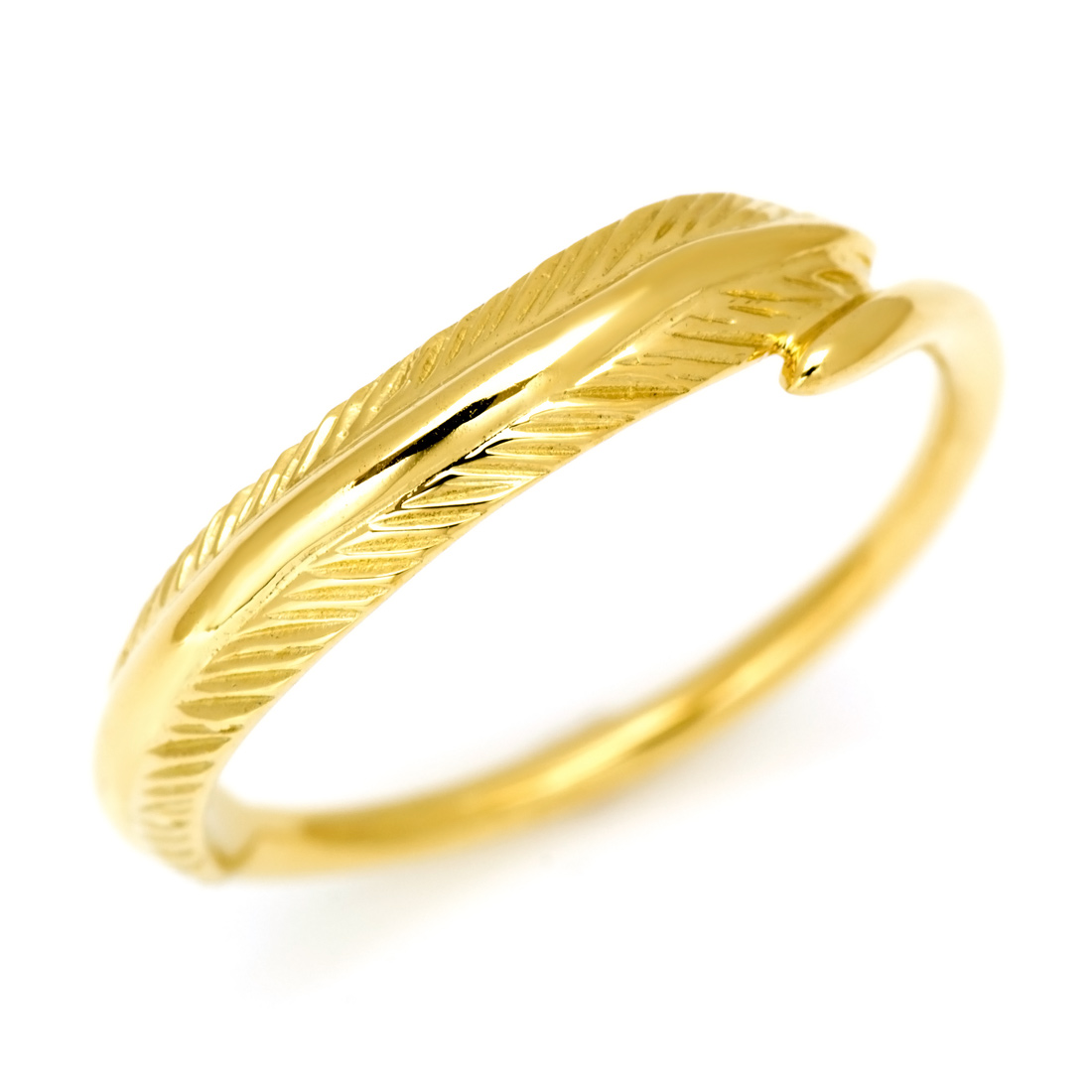 K18 メタルモチーフ リング 「feather」 指輪 リング フェザー 羽根 K18 18金 ゴールド 刻印 文字入れ メッセージ ギフト 贈り物 ピンキーリング対応可能