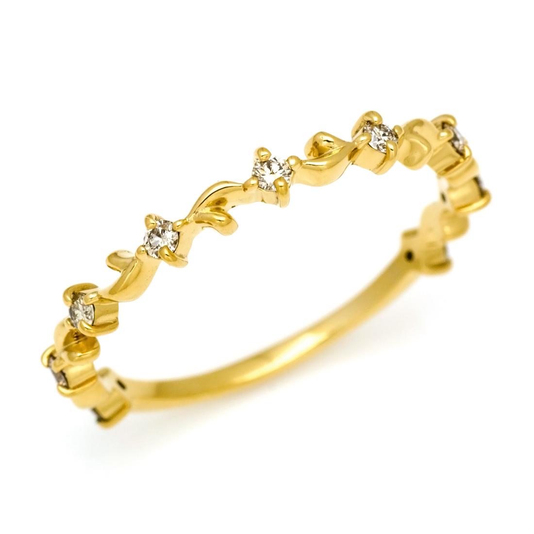 K18 ダイヤモンド0.15ct アイビー モチーフ リング「Ivy」 指輪 ゴールド 18K 18金 ダイアモンド 蔦 誕生日 4月誕生石 刻印 文字入れ メッセージ ギフト 贈り物 ピンキーリング対応可能