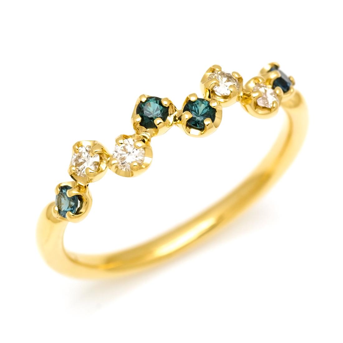 リング カラーチェンジガーネット ダイヤモンド ゴールド K18 「stellato」