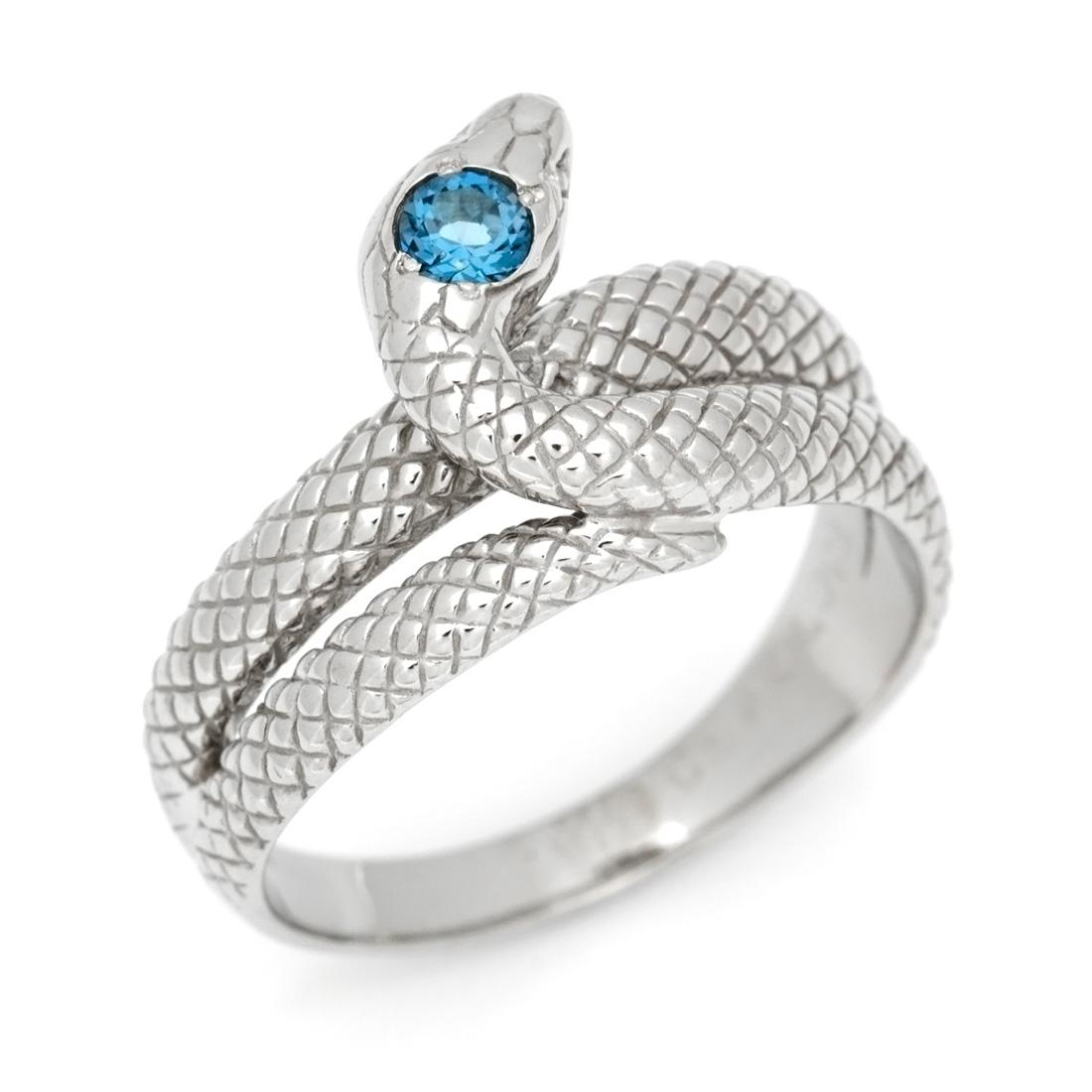 SV925 ロンドンブルートパーズ スネークモチーフ リング指輪 シルバー925 SILVER スターリングシルバー 蛇 誕生日 11月誕生石 刻印 文字入れ メッセージ ギフト 贈り物 ピンキーリング対応可能