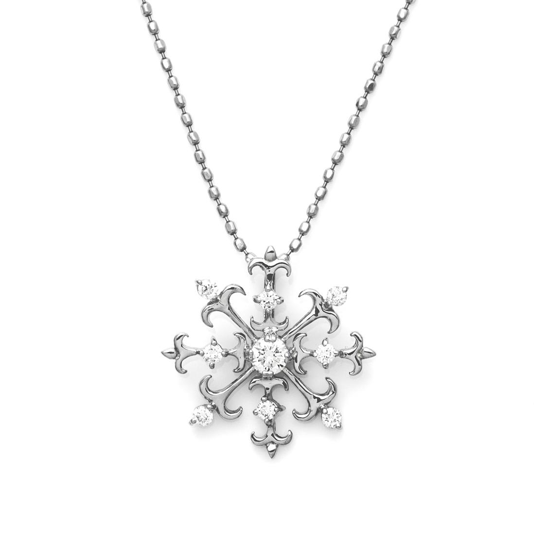 8方向に煌くダイヤ 特別セール品 K18 ダイヤモンド 0.15ct ペンダント トップ ネックレス ゴールド 最新 ダイアモンド ギフト メッセージ 18K 贈り物 18金 誕生日 スノー 4月誕生石 雪の結晶