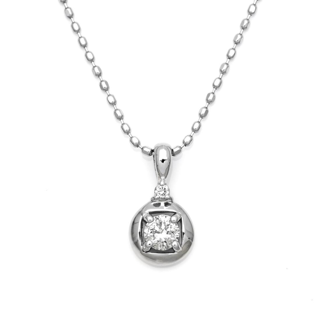 【GWクーポン配布中】K18 ダイヤモンド 0.11ct ペンダント送料無料 ネックレス ゴールド ダイアモンド 18K 18金 カットボールチェーン 誕生日 4月誕生石 メッセージ ギフト 贈り物