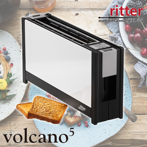 ritter/リッター トースター「volcano5」ボルケーノ5 ガラス製断熱素材 9段階焼き加減 メモリー機能付き 自動センタリング機能 スタイリッシュデザイン ドイツ製