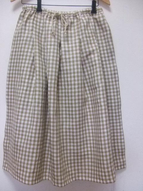 s【大きいサイズ2L~3L】リネン・ギンガム・オーバースカート・(3色)