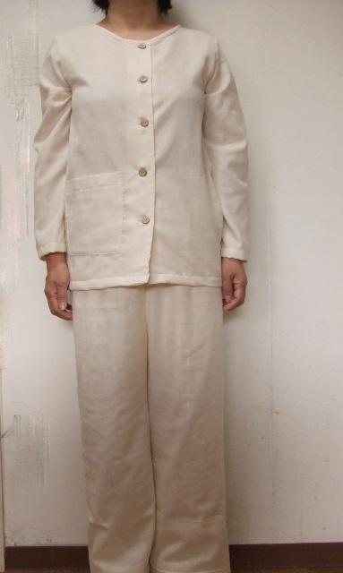【M~L】厚手トリプルガーゼ長袖全開パジャマ(6色)パンツ丈選択可(日本製)