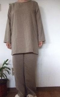 <BR> 【M~L】ダブルガーゼTスーツ(ロング長袖Tシャツ+パンツ)(8色)パンツ丈選択可(日本製)