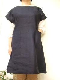 【大きいサイズ4L~5L】カラー・リネン・フレンチ袖・チュニック(カラシ・カーキー・レンガ・パープル・ネイビー)(日本製)