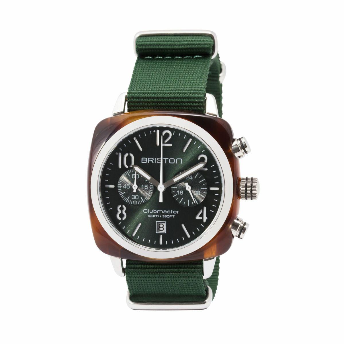 BRISTON ブリストン - クラブマスター クロノトータスシェル ブリティッシュグリーンサンレイダイヤル 腕時計