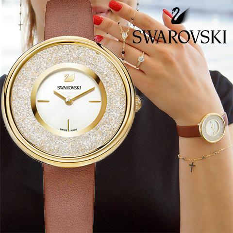 期間限定SALE 850個のクリスタル スイスメイド スワロフスキー 時計 レディース スワロフスキー 腕時計 SWAROVSKI 時計 SWAROVSKI 腕時計 5275040 スワロフスキークリスタル シルバー ブラウン レザー 人気 ブランド 誕生日 プレゼント ギフト 女性 彼女 バレンタイン