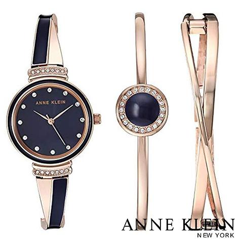 【キャッシュレス決済5%還元】アンクライン 時計 アンクライン 腕時計 レディース Anne Klein AK 3292NVST インポート スワロフスキー ブレスレットセット 海外取寄せ 送料無料
