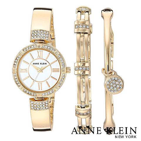 アンクライン 時計 アンクライン 腕時計 レディース Anne Klein AK 3294GBST インポート スワロフスキー ブレスレットセット 海外取寄せ 送料無料