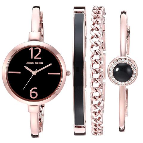 アンクライン 時計 レディース スワロフスキー 時計 アンクライン 腕時計 Anne Klein AK 3290BKST インポート スワロフスキー ブレスレットセット あす楽 送料無料