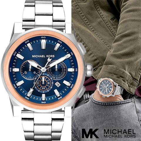 マイケルコース 時計 メンズ マイケルコース 腕時計 MK8598 インポート 誕生日 ギフト プレゼント 彼氏 シルバー ブラック 海外取寄せ 送料無料