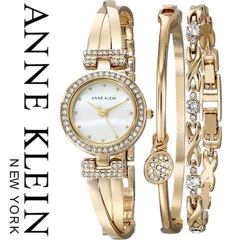 【キャッシュレス5%還元】【米国正規品】アンクライン 時計 アンクライン 腕時計 レディース Anne Klein 1868GBST インポート ブレスレットセット 海外取寄せ 送料無料