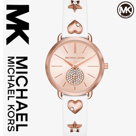 2108 最新作 マイケルコース 時計 マイケルコース 腕時計 レディース MK2728 インポート ピンクゴールド ホワイトレザー 海外取寄せ 送料無料