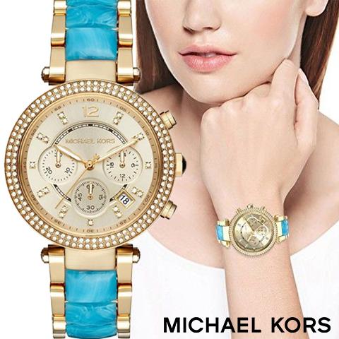 マイケルコース 時計 michaelkors 腕時計 マイケル コース 腕時計 michael kors 時計 マイケルコース時計 レディース MK6364 人気 ブランド 女性 彼女 妻 嫁 プレゼント かわいい おしゃれ ゴールド ブルーサファイヤ 海外取寄せ 送料無料