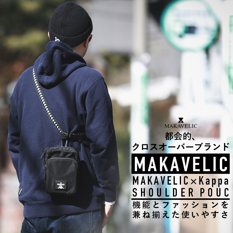 【10%OFF!】MAKAVELIC×Kappa SHOULDER POUCH(KL918BA04)【マキャベリック × カッパ】【バッグ】【カバン】【鞄】【ポーチ】【フェス】【旅行】