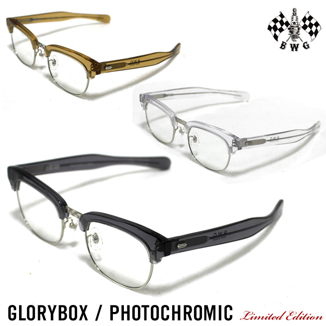 数量限定 UNCROWD工場で生産 VINTAGEのブロータイプの眼鏡を現代風にアレンジ チープ 調光レンズタイプGLORY BOX 送料無料 店内全品対象 日本製 メンズ サングラス WORK 調光サングラス GLORY BLUCO B.W.G ブルコ バイク用サングラス GARMENT