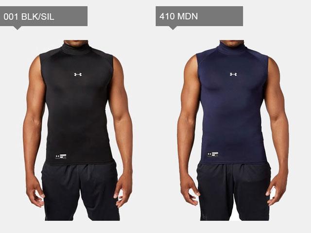 アンダーアーマーメンズインナーアンダーシャツ袖なしモックネックベースレイヤーUAヒートギアアーマーコンプレッションSLゴルフ野球ソフトボールベースボールトレーニングランニング1313254UNDERARMOUR