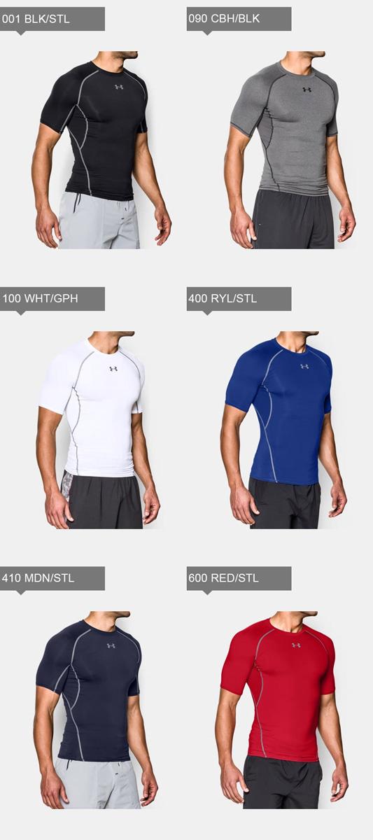 ネコポスアンダーアーマーメンズインナーシャツ半袖丸首UAヒートギアアーマーコンプレッションSSゴルフトレーニングマラソンランニング野球サッカー1257468