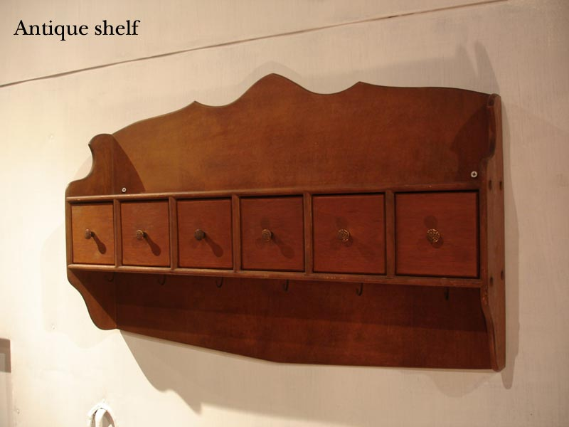 Acquirer In Antique Wall Shelf Hooks With Drawer Condiment Display United States