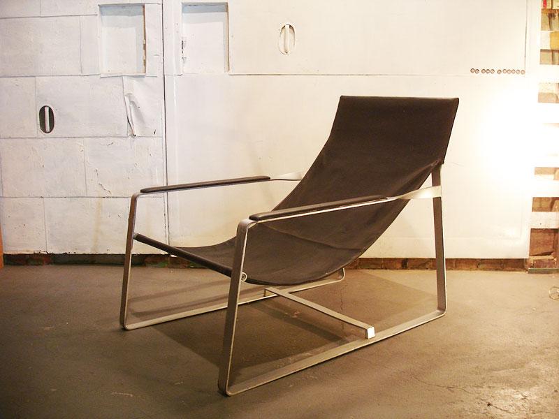SALE レア ラウンジチェア レザー Leather 本革 ヴィンテージ Vintage アンティーク Antique インダストリアルデザイン ハンモック 椅子 イス フランスより入荷 プルーヴェ好きにも 家具【中古】