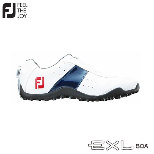 【在庫限り】FOOTJOY【フットジョイ】EXL スパイクレス Boa #45181 ホワイト/ネイビー (W) メンズ ゴルフシューズ【送料無料】