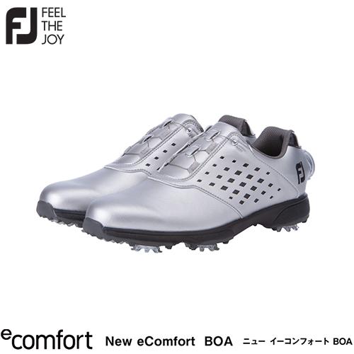 柔らかく しなやかで足に馴染みやすい FOOTJOY フットジョイ レディース New メイルオーダー eComfort BOA 2021 ブラック ゴルフシューズ 足幅3E シルバー 98638 2021年モデル お見舞い シューズ イーコンフォート W